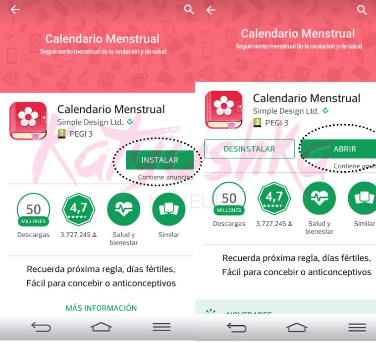 App calendario menstrual paso a paso